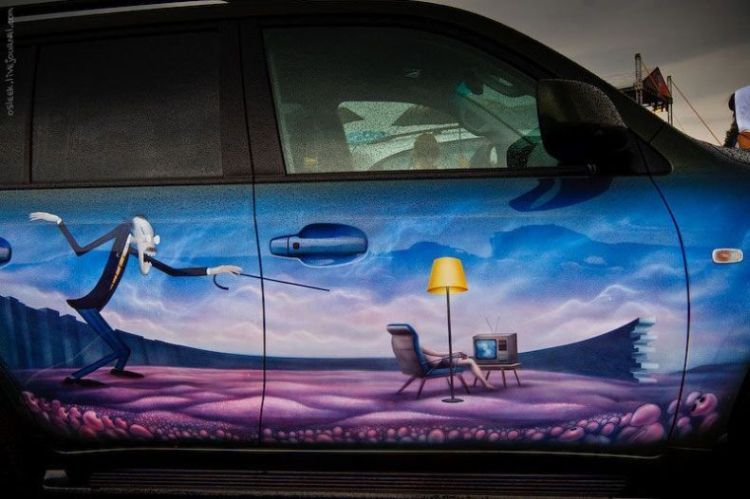 Прикольная аерография на автомобилях (150 фото)